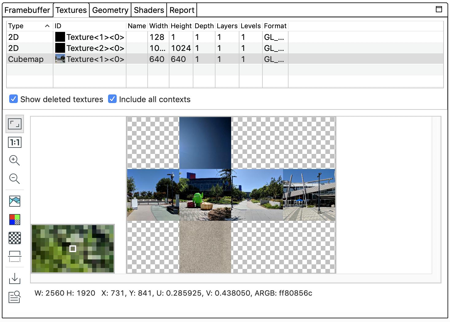 Textures Pane · Graphics API Debugger